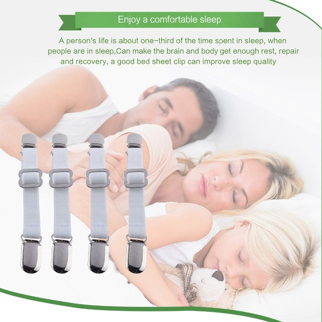 Discounted 4Pcs/Set Nickel Plated Adjustable Bed Sheet Cord Hook Loop  Straps Fastener/