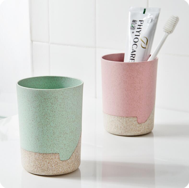 Пшеничной соломы Аксессуары для ванной комнаты Кружка Творческий набор с базовыми Зубная щётка чашки Пластик любителей мыть чашки
