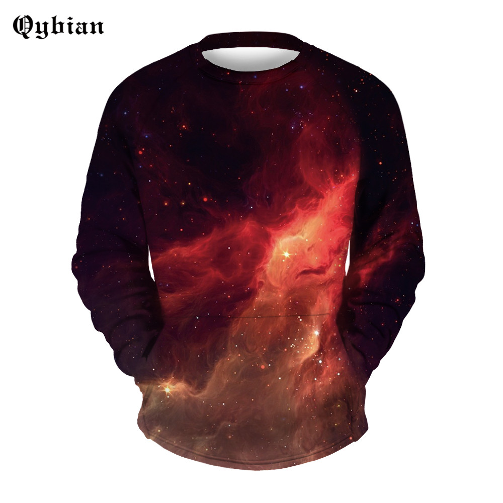 Qybian Space Galaxy Red Prints 3D 2017 New Pullover Spring Autumn Mens Hoodies And Sweatshirts Long Sleeve Sweatshirt Men