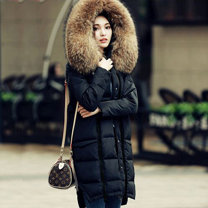 Large Real Natural Raccoon Fur 2018 Winter Jacket Women White Duck Down Jacket thickening Female Warm Clothes High Quality