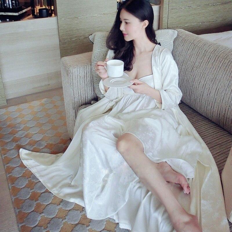 Women's Silk Night Robes White Jacquard Pajama Sets Spring Autumn Long Silk Nightdress Two-Piece Sleepwear Nightwear