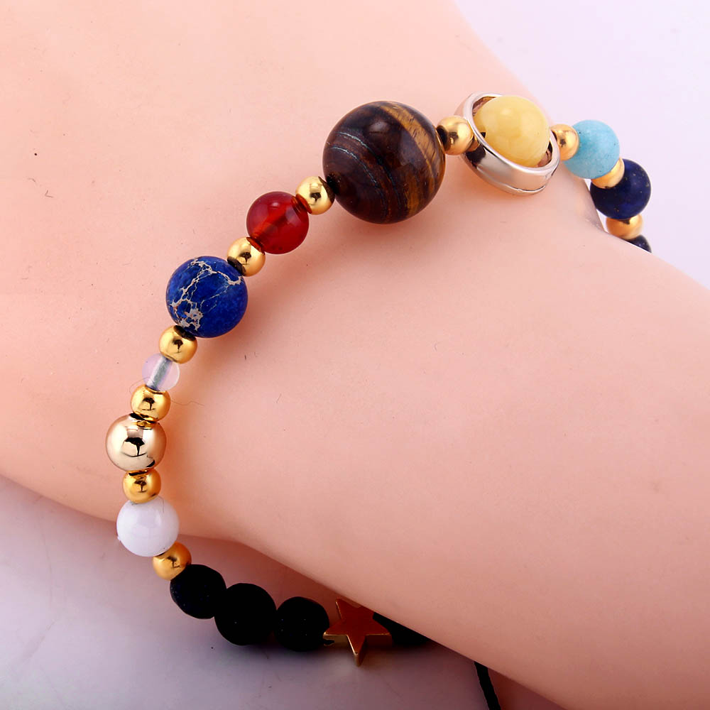 Universe Galaxy Eight Planets In The Solar System Guardian Star Lava Reiki Natural Stone Beads Bracelet & Bangle Adjustable 1pcs
