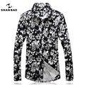 Shan bao marca clothing color arena estilo banquete camisa 2017 otoño hombres de la moda negro manga larga de los hombres delgada 16100