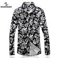 Shan bao marca clothing cor da camisa 2017 dos homens caem de moda estilo banquete preto longo-manga comprida camisa dos homens de arena magro 16100