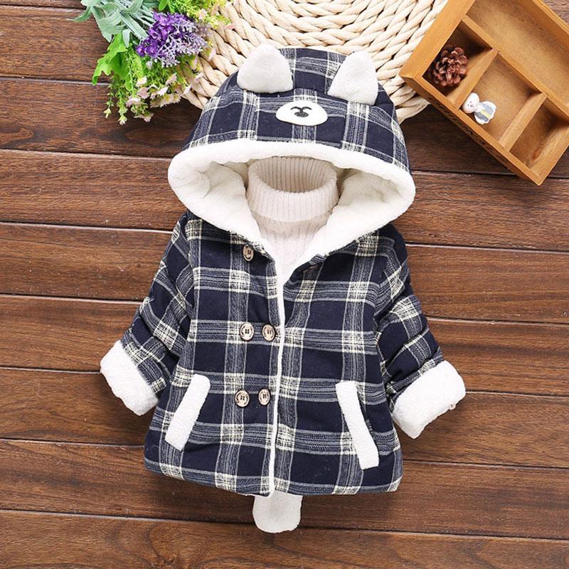 Newborn Infant Girl Winter Warm Outerwear Hooded Coat Cotton Jacket Kids Sweater
