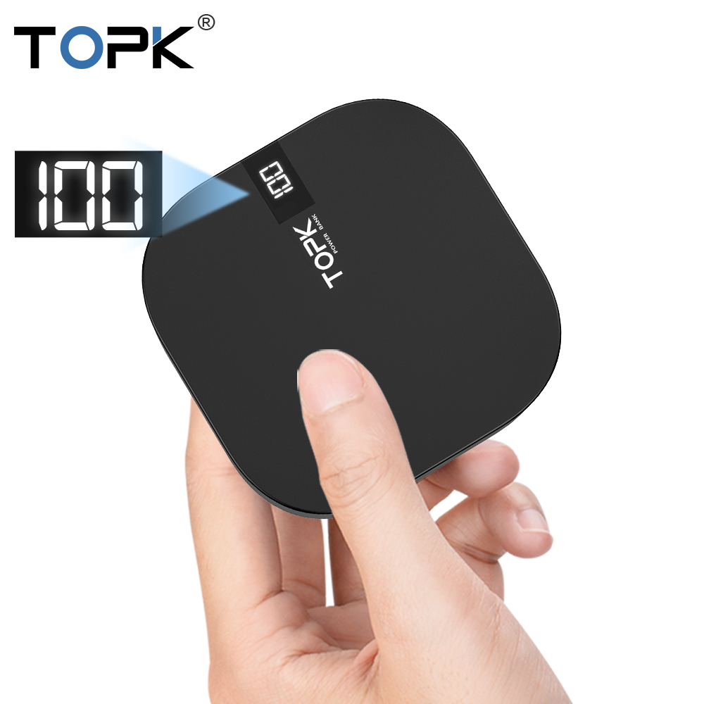 TOPK Mini Power Bank 10000mah Portable Charger Powerbank USB Type C External Battery Charger Poverbank for iPhone Xiaomi Huawei-in Power Bank from Cellphones & Telecommunications