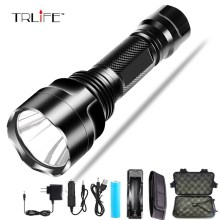 CREE C8 8000 lumens cree xml t6 L2 high power led flashlight +DC/Car Charger+1*18650 battery+Holster LED Torch Light Lamp 2018 high power hot led flashlight xml t6 xml l2 q5 waterproof 18650 battery torch camping bicycle flash light z30
