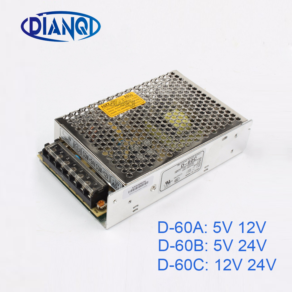 DIANQI dual output Switching power supply <font><b>60w</b></font> <font><b>5v</b></font> 12v 24V power suply D-60A ac dc converter D-60B D-60C image