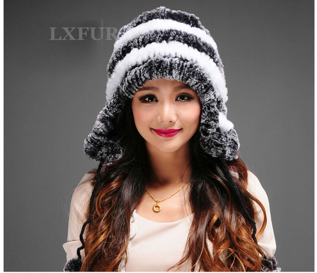 Lovely Famale Real Rex Rabbit Fur Earmuffs Hats Girls Winter Warm Rex Rabbit Fur Bomber Caps LX00211