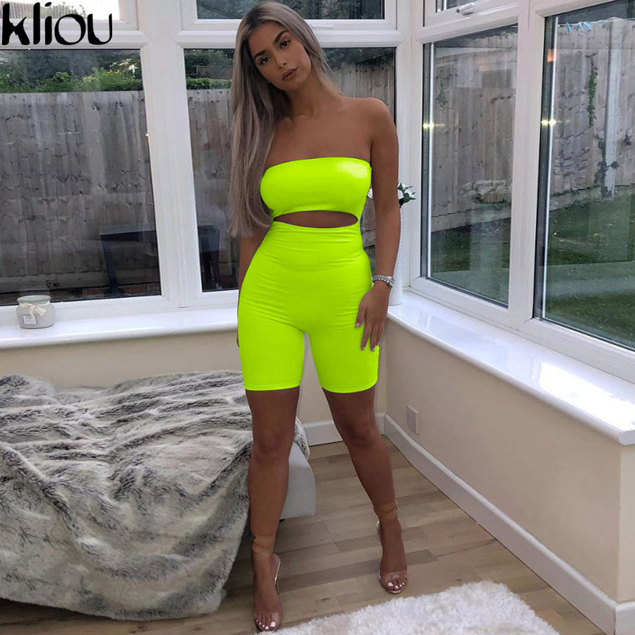 Kliou 2018 women sexy short fluorescence playsuits short hollow out strapless female sexy skinny solid party rompers bodysuits(China)