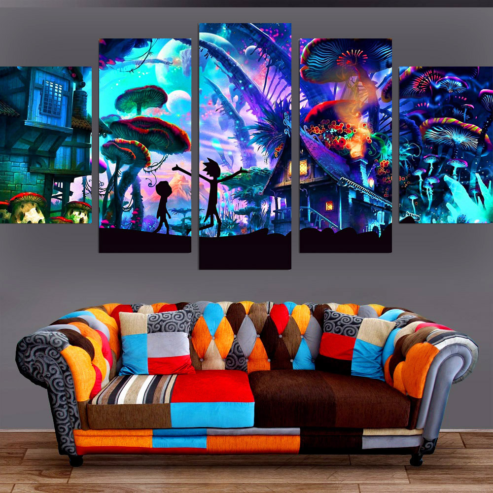 Wall decor shroom world rick and morty canvas set painting for Decor 8 piece lunch set