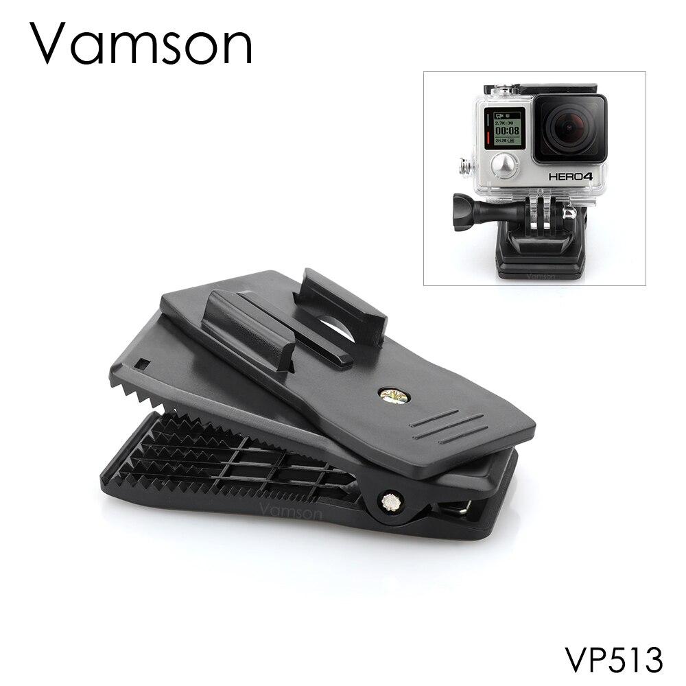 Vamson For GoPro Hero 7 6 5 4 3+ 360-Degree Rotation Backpack Clip Fast Clamp Mount For Xiaomi For Yi For SJCAM For SJ4000 VP513