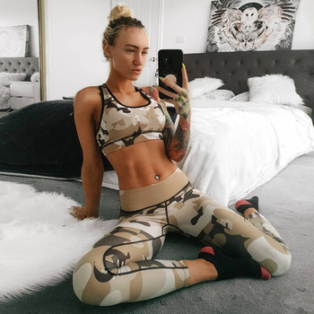 Camoufalge Printed Top And Legging Pants 2 Pieces Set 2018 Fashion Female Sexy Tracksuit