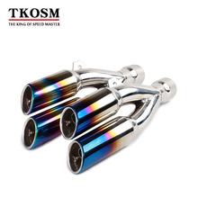 TKOSM 38-51mm Multi-color Stainless Steel Universal Motorcycle Muffler Exhaust Tail Pipe Double Twin Tip For CBR190 R6 Ninja 250