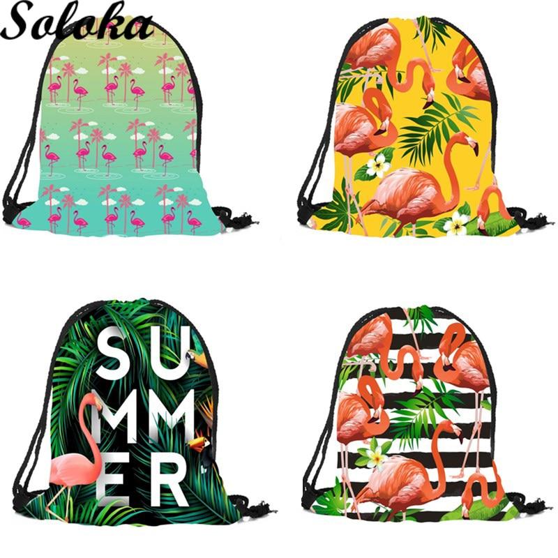 1Pc 2018 3D Printing Travel Softback Women Family Storage Casual Drawstring Bag