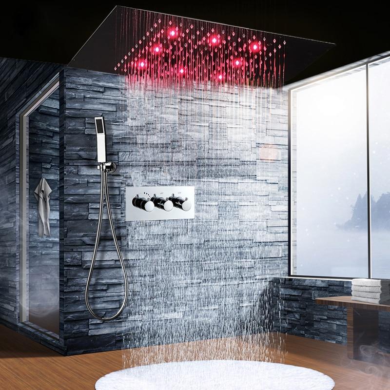 High Flow Concealed Rain Shower Faucets Bathroom Led Shower Head 304