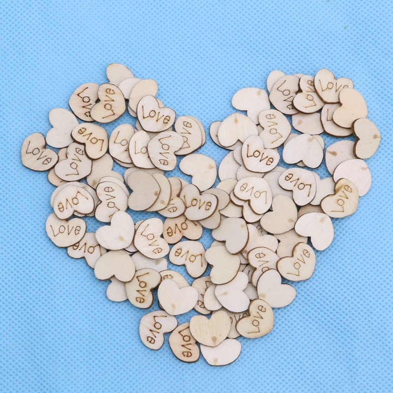 Day Craft Art Wooden Buttons Love Heart Embellishment Wedding Decoration