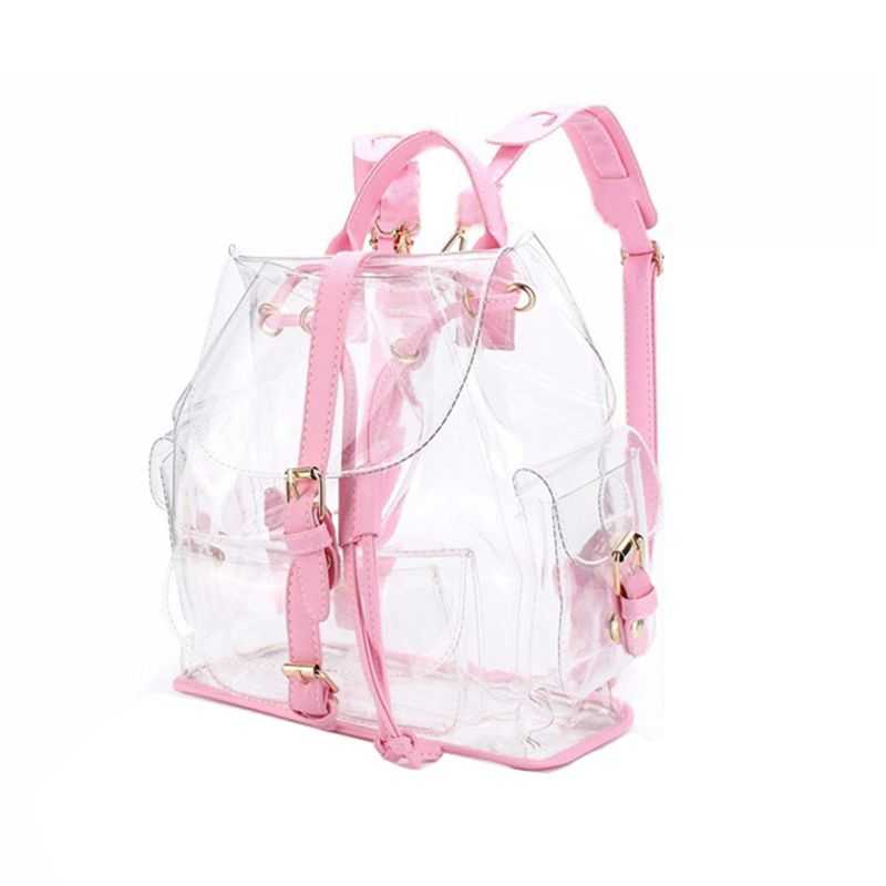 New Fashion Girl Pink Clear Cute Waterproof PVC Transparent Backpack School Bag Travel Bag (Color: Pink)
