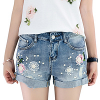 Embroidered Flowers Beading Stretch Denim Shorts Summer Casual Denim Shorts Vintage Hot Shorts Denim Shorts For