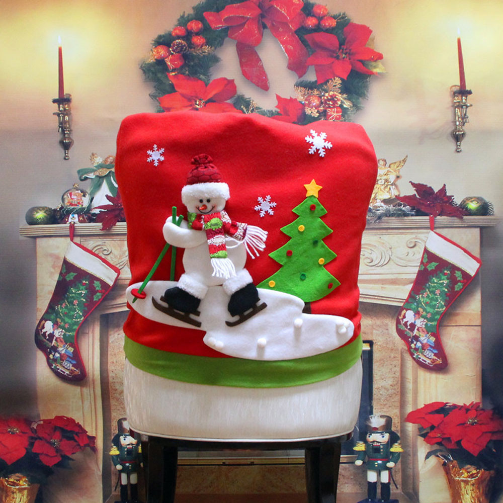 Christmas chair back covers - 12pcs Hat Chair Back Cover For Christmas Dinner