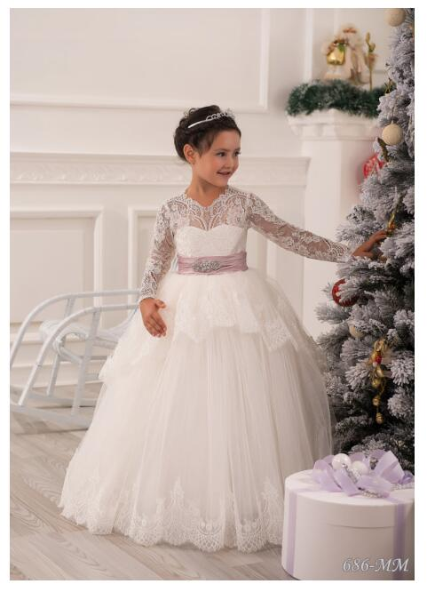 Girls Wedding Formal Dresses 2018 Longsleeve Lace Gauze Flowers Girls Princess Dress Kids Backless Long Party Prom Dress White half sleeve toddler girls show performance lace flowers white christening noble wedding princess bowknot party formal dress