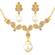 Fashion imitation pearl jewelry sets 18k gold plated beads Nigeria Africa wedding bride earrings jewelry crystal necklace Women