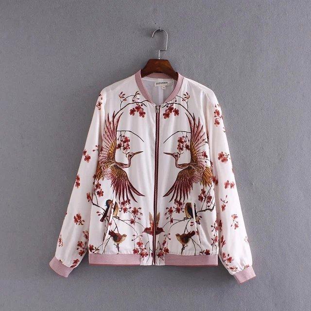 Mulheres jaqueta casaco curto rosa flor pássaro impresso senhoras primavera jaqueta casaco feminino casaco chaquetas mujer primavera 2016