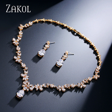 ZAKOL Luxury Marquise Cluster Small Flower Drop Water Drop Shape Cubic Zirconia Women Jewelry Set Best