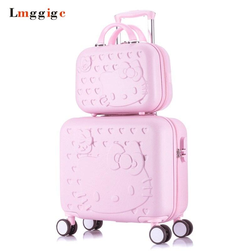 Рисунок «Hello Kitty» cabin Чемодан и чемодан Комплект Для женщин ребенок мешок подарок, прекрасный мультфильм случае поездки, универсальный Колёс... ...