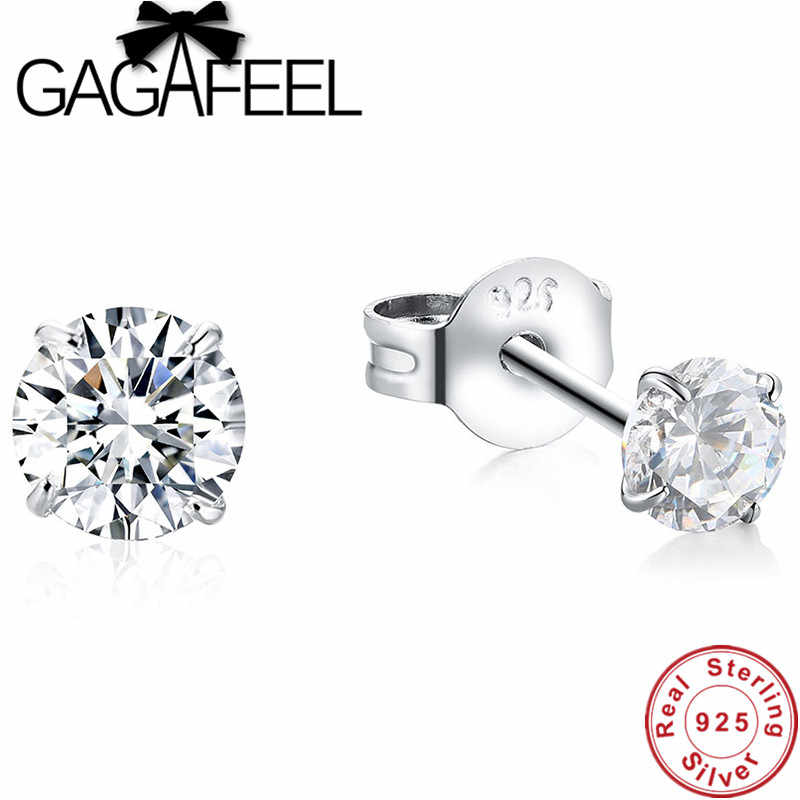 GAGAFEEL 925 Sterling Silver Round Stud Earrings 4 Colors Crystal OL Style Earrings for Women Ladies Classic Jewelry Accessories