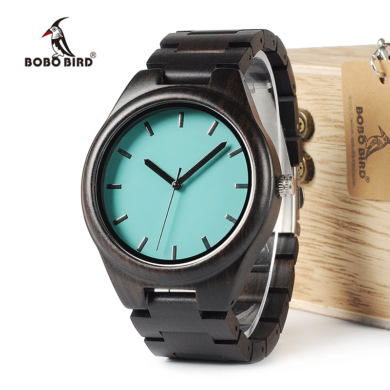 BOBO BIRD WI21 Ebony Wooden Mens Watch Top Brand Blue Simple Wooden Band Classic Quartz Wristwatch As Gift Accept OEM Relogio bobo bird brand new sun glasses men square wood oversized zebra wood sunglasses women with wooden box oculos 2017