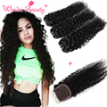Mink Indian Curly Virgin Hair With Closure 4pcs Kinky Curly Human Indian Virgin Hair Deep Curly With Lace Closure Fast Deals
