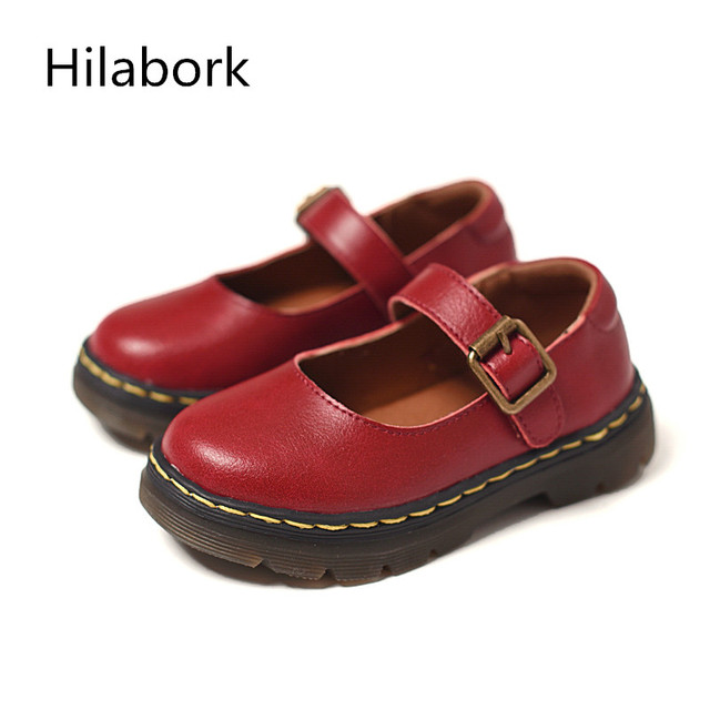 2017 Spring new children's fashion shoes leather boy's round head paint light shoes girls retro HOOk & LOOP casual shoes