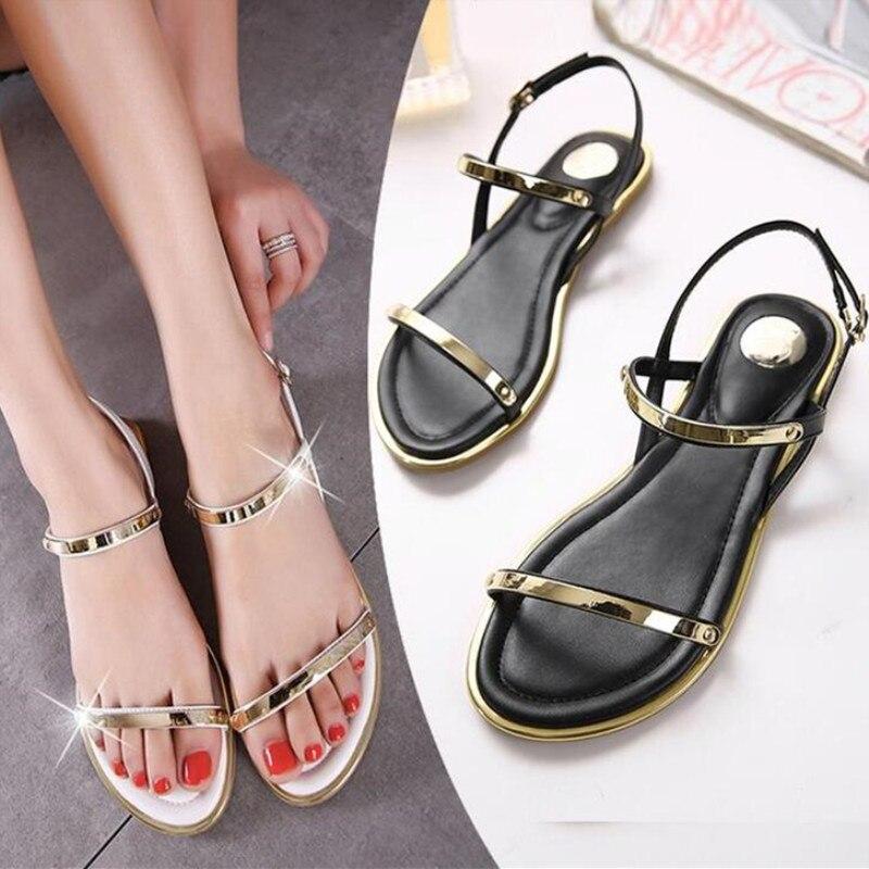 ea2791a3c New 2019 Women Sandals Sexy Thin Belt Flat Sandals Women Summer Fashion Women  Shoes Gold Sandals Sandalias mujer size 35 43 -in Women s Sandals from Shoes  ...