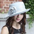 Señoras Formal Coctel de la Tarde de La Boda de La Iglesia de Derby Playa Sombrero de Diamantes Vintage Estilo Francés Vestido de Sun Fedora De Ala Ancha Tapa de Flor