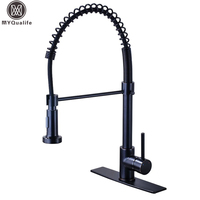 Black Bronze Spring Kitchen Faucet Single Handle 2 Function Water Outlet Pull Down Kitchen Mixers With