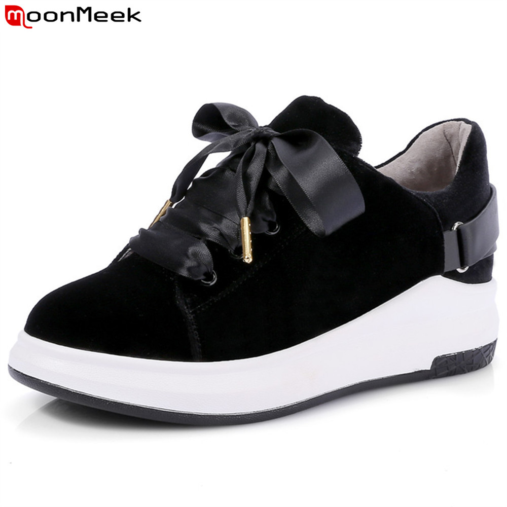 MoonMeek black wine red fashion spring autumn women shoes round toe lace up flock flats shoes leisure comfortable ladies shoes cosidram pointed toe women oxfords spring autumn fashion women flats pu leather lace up women shoes ladies 2017 bsn 023