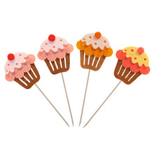4pcs/set Cupcake Topers Assorted Color Non-toxic Cute Cake Picks Cake Decorations(China)