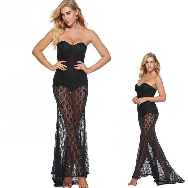 5831d4ca80f See Through Maxi Dress Off Shoulder Strapless Lace Bustier Party Dress Mesh  Overlay See Through Maxi