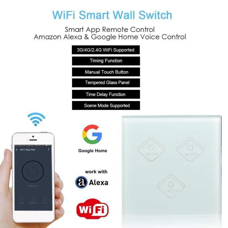 UK Interruptor Touch Switch 3 Gang Light Home Wall Switch APP Remote Control White Touch Screen LED Indicator Button Switch WiFi smart home uk standard crystal glass panel wireless remote control 1 gang 1 way wall touch switch screen light switch ac 220v