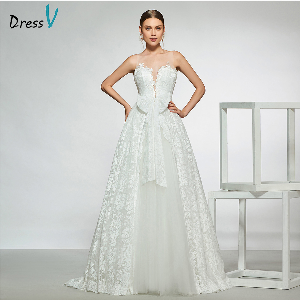 Dressv Elegant Sample V Neck Bowknot Wedding Dress