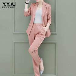 Деловые костюмы Для женщин 2019 Новая мода элегантный длинный рукав розовая куртка длинные штаны комплект одежды из 2 предметов женский