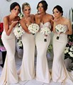 Sexy 2017 Cheap Bridesmaid Dresses Under 50 Mermaid Sweetheart Satin Sequins Ivory Long Wedding Party Dresses