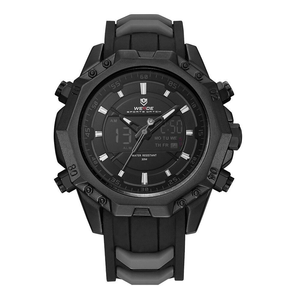 WEIDE Men Sport Analog Quartz Movement Digital Display Day Back Light Alarm Black Silicone Strap Auto Date Wristwatches Relogio