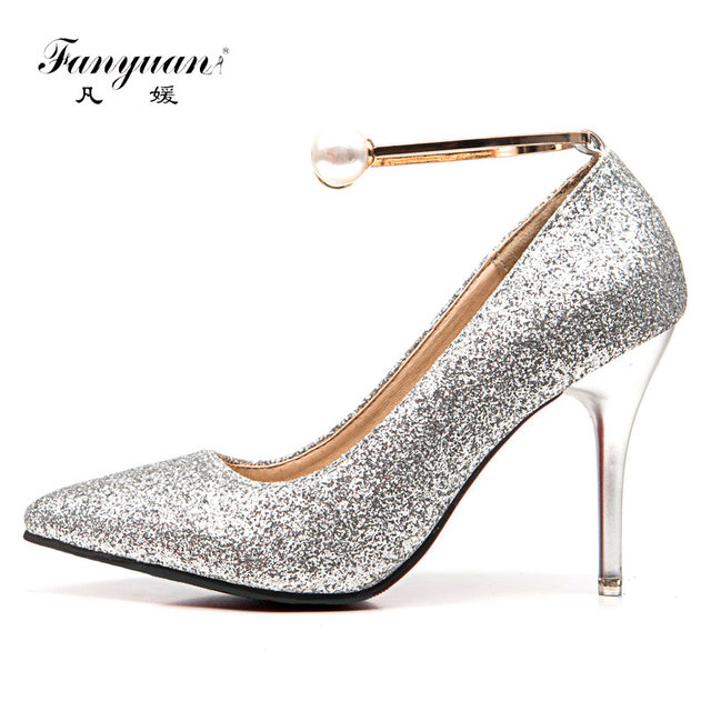 Fanyuan Women Pumps Bling High Heels Women Pumps Glitter High Heel Shoes  Woman Sexy Wedding Party Shoes red Gold Silver a2701e39c7b0
