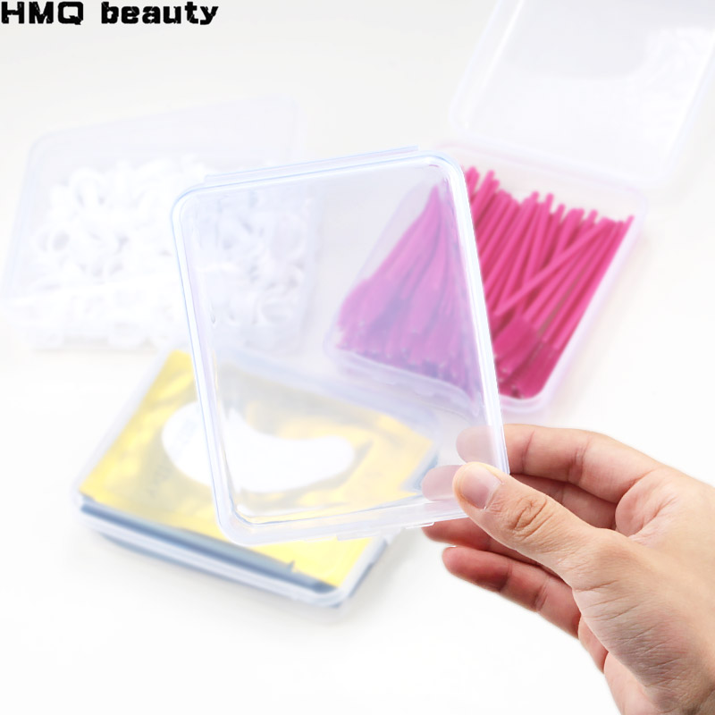 1pcs Plastic Storage Box Eyelash Extension Tool Tweezers Storage Box Transparent Square Multi-purpose Display Cabinet