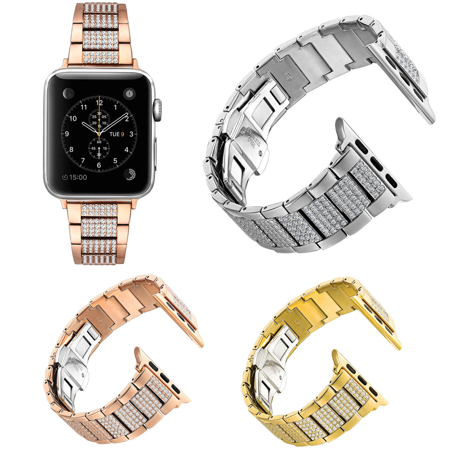 Women's Bling Links Bracelet for Apple Watch Series 3 2 1 Band Rhinestone Crystal Stainless Steel Strap for iWatch 42/38mm Belt dahase bling rhinestone link bracelet for apple watch band stainless steel strap for iwatch 38mm 42mm series 1 2 3 belt