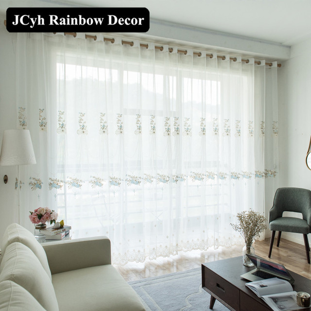 Modern White Tulle curtains for living room Embroidery Window ...