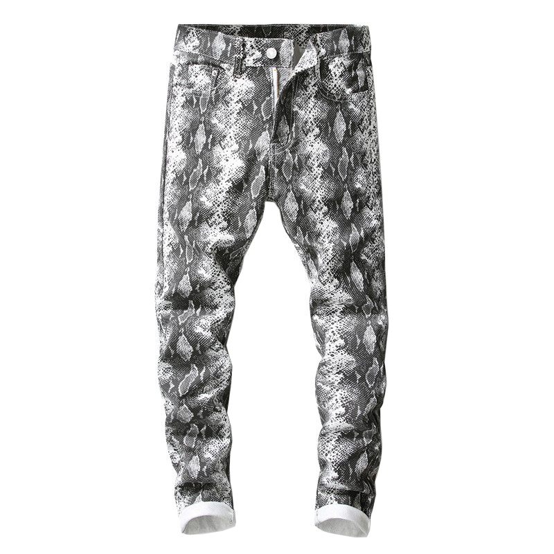 Sokotoo Men's snake skin printed gray   jeans   Slim fit stretch pencil pants