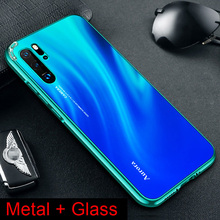 Tempered Solid color Gradient Glass Case for Huawei P20 pro P30 Luxury Aluminum Metal Frame Slim Back Cover Coque